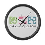 Peace, Love, Zuchons Large Wall Clock