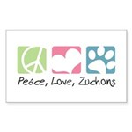 Peace, Love, Zuchons Sticker (Rectangle)