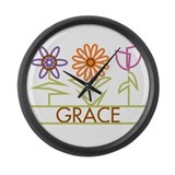 Grace with cute flowers Large Wall Clock