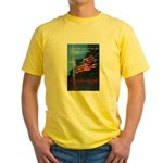 Proud American Flag (Front) Yellow T-Shirt