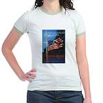 Proud American Flag (Front) Jr. Ringer T-Shirt
