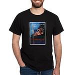 Proud American Flag (Front) Black T-Shirt