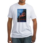 Proud American Flag (Front) Fitted T-Shirt