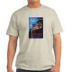 Proud American Flag (Front) Ash Grey T-Shirt