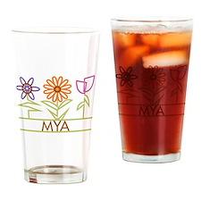 Mya with cute flowers Drinking Glass