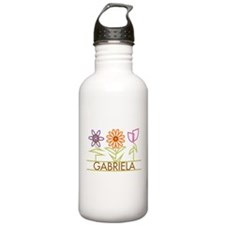 Gabriela with cute flowers Sports Water Bottle