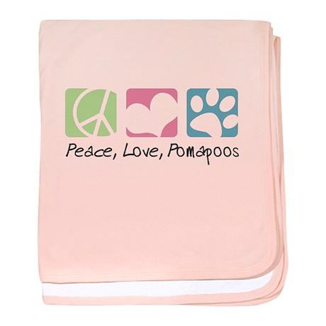 Peace, Love, Pomapoos baby blanket