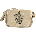 Gothic Cross with Skulls Messenger Bag