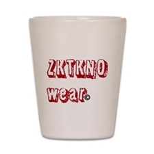 zktkno wear red Shot Glass