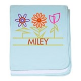 Miley with cute flowers baby blanket