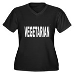 Vegetarian Women's Plus Size V-Neck Dark T-Shirt