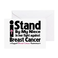 I Stand Niece Breast Cancer Greeting Card
