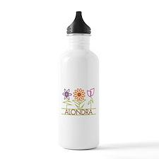 Alondra with cute flowers Sports Water Bottle