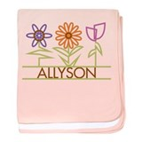 Allyson with cute flowers baby blanket
