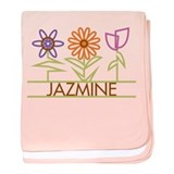 Jazmine with cute flowers baby blanket