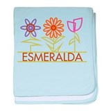 Esmeralda with cute flowers baby blanket