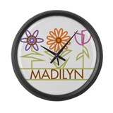 Madilyn with cute flowers Large Wall Clock