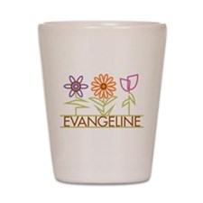 Evangeline with cute flowers Shot Glass