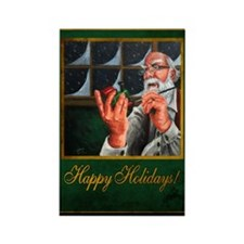 Santa at Work Rectangle Magnet