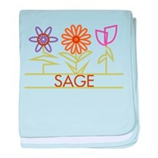 Sage with cute flowers baby blanket