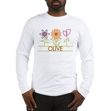 Olive with cute flowers Long Sleeve T-Shirt