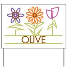 Olive with cute flowers Yard Sign