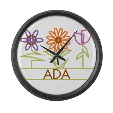 Ada with cute flowers Large Wall Clock