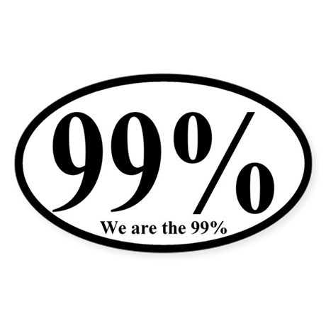 99%: We are the 99% Oval Bumper Sticker