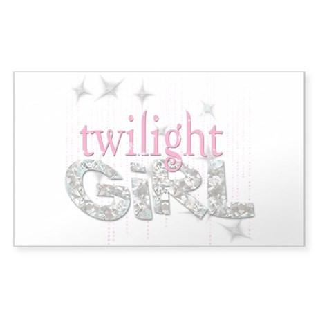 Twilight Girl Pink Sticker (Rectangle)