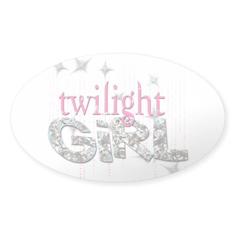 Twilight Girl Pink Sticker (Oval)