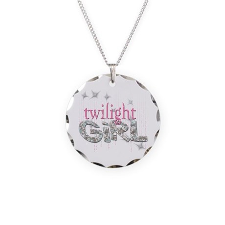 Twilight Girl Pink Necklace Circle Charm