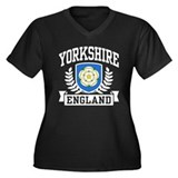 Yorkshire England Women's Plus Size V-Neck Dark T-