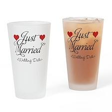 Just Marrried (Add Wedding Date) Drinking Glass