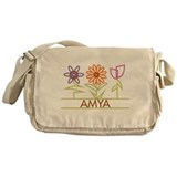 Amya with cute flowers Messenger Bag