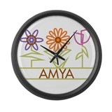 Amya with cute flowers Large Wall Clock