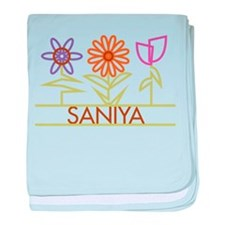 Saniya with cute flowers baby blanket