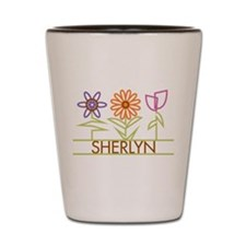 Sherlyn with cute flowers Shot Glass