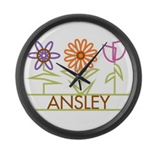 Ansley with cute flowers Large Wall Clock