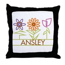 Ansley with cute flowers Throw Pillow