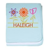 Haleigh with cute flowers baby blanket
