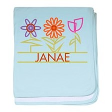Janae with cute flowers baby blanket
