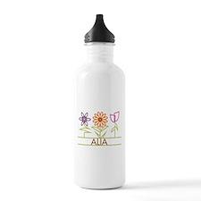 Alia with cute flowers Water Bottle