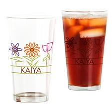 Kaiya with cute flowers Drinking Glass