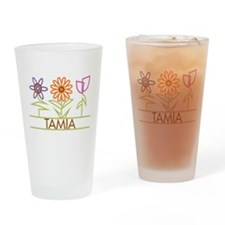 Tamia with cute flowers Drinking Glass