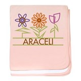 Araceli with cute flowers baby blanket