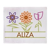 Aliza with cute flowers Throw Blanket
