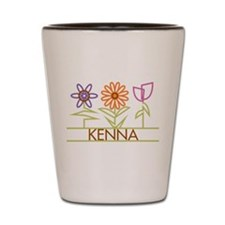 Kenna with cute flowers Shot Glass