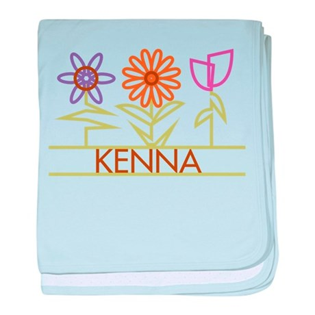 Kenna with cute flowers baby blanket