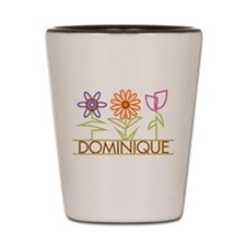 Dominique with cute flowers Shot Glass