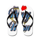 USN Proud Navy Mom Flip Flops